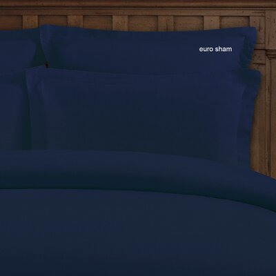 Bernadette Washed Belgian Linen Euro Shams Color: Indigo Blue