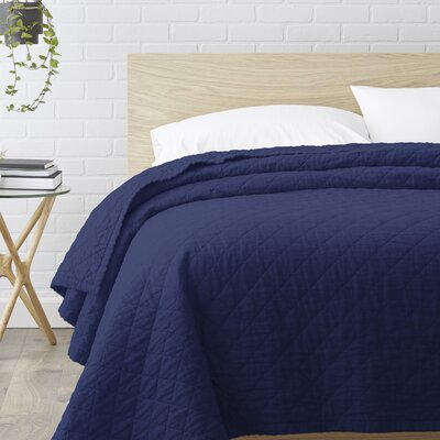 Susann Quilted Washed Belgian Linen Coverlet Color: Indigo Blue, Size: Queen