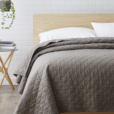 Susann Quilted Washed Belgian Linen Coverlet Color: Slate Grey, Size: Queen