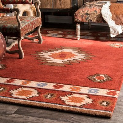 Joshua Hand-Tufted Red Wine Area Rug Rug Size: Rectangle 9 6 x 13 6