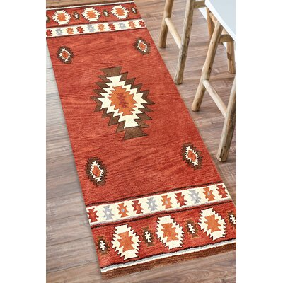 Joshua Hand-Tufted Red Wine Area Rug Rug Size: Runner 26 x 8