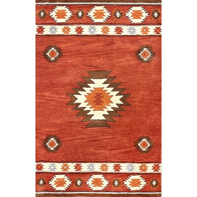 Joshua Hand-Tufted Red Wine Area Rug Rug Size: 86 x 116
