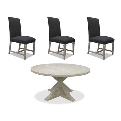 Sydney 6 Piece Dining Set Upholstery: Charcoal, Finish: White