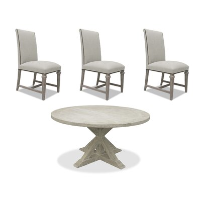 Sydney 6 Piece Dining Set Upholstery: Sand, Finish: White