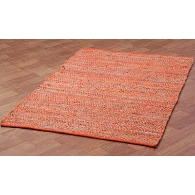 Synthia Hand Woven Cotton Orange Area Rug Rug Size: 9 x 12