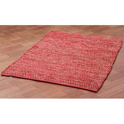 Synthia Hand Woven Cotton Red/Green/Tan Area Rug Rug Size: 5 x 8