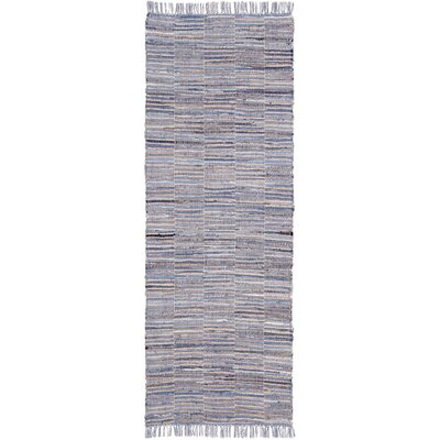 Synthia Hand Woven Cotton Blue/Natural Hemp Area Rug Rug Size: Runner 26 x 12
