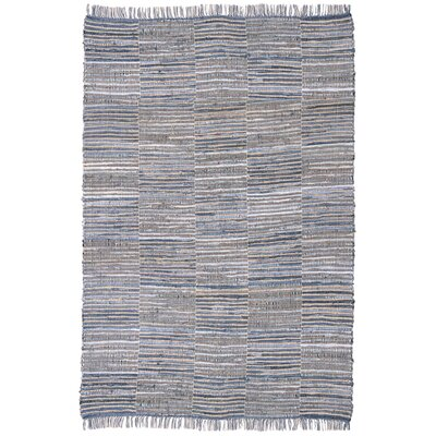 Synthia Hand Woven Cotton Blue/Natural Hemp Area Rug Rug Size: 26 x 42