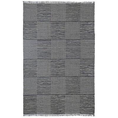 Synthia Hand-Loomed Black Area Rug Rug Size: 5 x 8