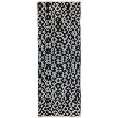 Synthia Hand-Woven Black Area Rug Rug Size: Runner 26 x 8