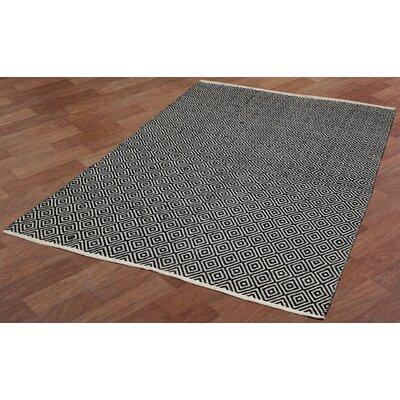 Synthia Hand-Woven Black Area Rug Rug Size: 10 x 14