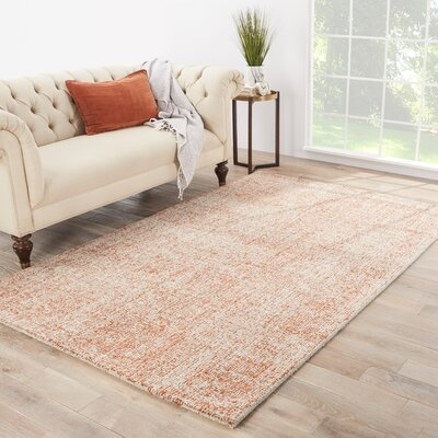 California Bay Hand-Woven Wool Ivory/Orange Area Rug Rug Size: Rectangle 5 x 8