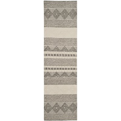Billie Hand-Tufted Gray/Ivory Area Rug Rug Size: Runner 23 x 12