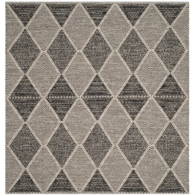 Oxbow Hand-Woven Black Area Rug Rug Size: Square 6