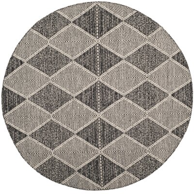 Oxbow Hand-Woven Black Area Rug Rug Size: Round 6