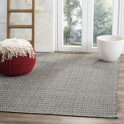 Oxbow Hand-Woven Ivory/Black Area Rug Rug Size: Rectangle 8 x 10