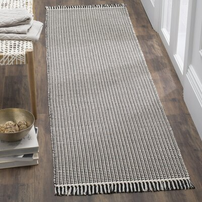Oxbow Hand-Woven Cotton Ivory/Black Area Rug Rug Size: Runner 23 x 8