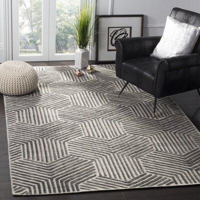 Ornella Hand-Woven Light Gray/Charcoal Area Rug Rug Size: 6 x 9