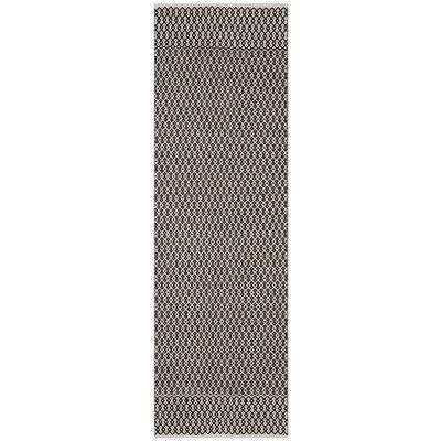 Mooreton Hand-Woven Ivory/Black Area Rug Rug Size: Runner 23 x 8