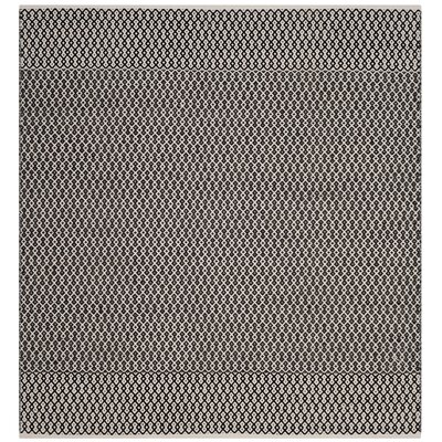 Mooreton Hand-Woven Ivory/Black Area Rug Rug Size: Square 4