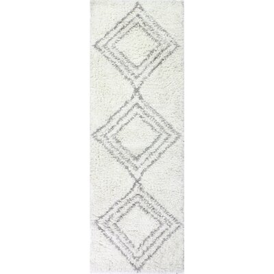 Lavedan Wool Hand-Knotted Ivory/Grey Area Rug Rug Size: Runner 26 x 8
