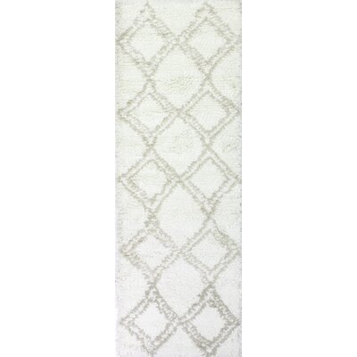 Lavedan Wool Hand-Knotted Ivory/Beige Area Rug Rug Size: Runner 26 x 8