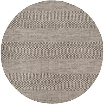 Oxbow Hand-Woven Ivory/Anthracite Area Rug Rug Size: Round 6