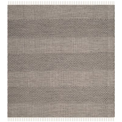 Oxbow Hand-Woven Ivory/Anthracite Area Rug Rug Size: Square 4