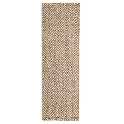 Diana Hand-Woven Beige/Natural Area Rug Rug Size: Runner 26 x 8
