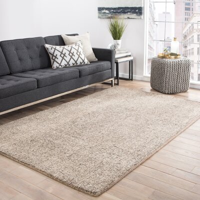 California Bay Hand-Woven Wool Taupe/Ivory Area Rug Rug Size: Rectangle 5 x 8