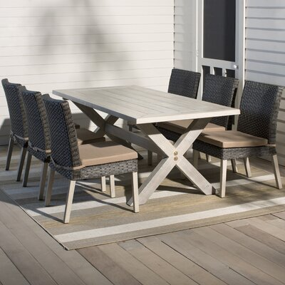 Hebron 7 Piece Dining Set with Cushion Finish: Grey