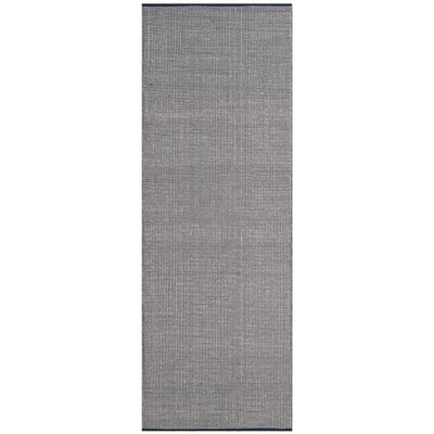 Ollie Hand-Woven Cotton Navy Area Rug Rug Size: Runner 23 x 8