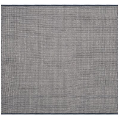 Ollie Hand-Woven Cotton Navy Area Rug Rug Size: Square 6