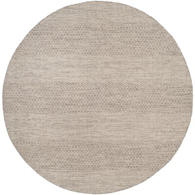 Oxbow Hand-Woven Ivory/Steel Grey Area Rug Rug Size: Round 4