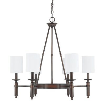 Bonneau 6-Light Shaded Chandelier Finish: Burnished Bronze