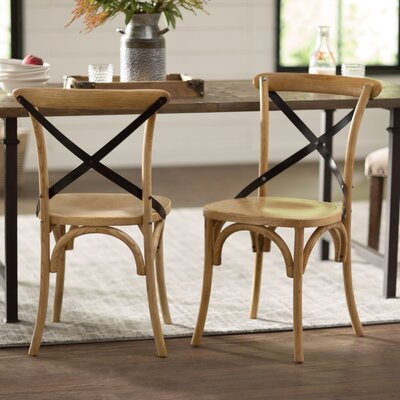 Maxence Solid Wood Dining Chair Finish: Tan/Black