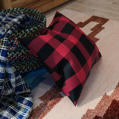 Comeaux Outdoor Throw Pillow Size: 20 H x 20 W x 4 D, Color: Red / Black