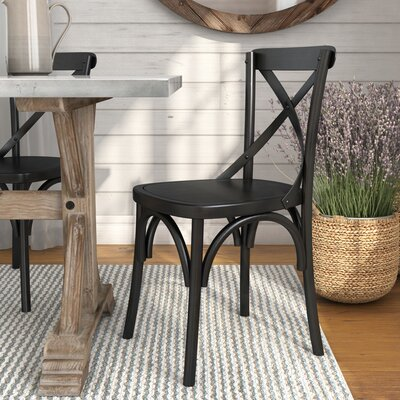 Maxence Solid Wood Dining Chair Finish: Black