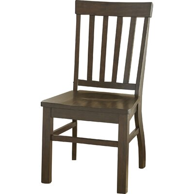 Embry Solid Wood Dining Chair (Set of 2) Chair Finish: Dark Oak