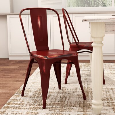 Monette Stackable Dining Side Chair Finish: Red