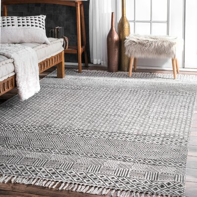 Oldtown Hand-Woven Gray Area Rug Rug Size: Rectangle 5 x 8