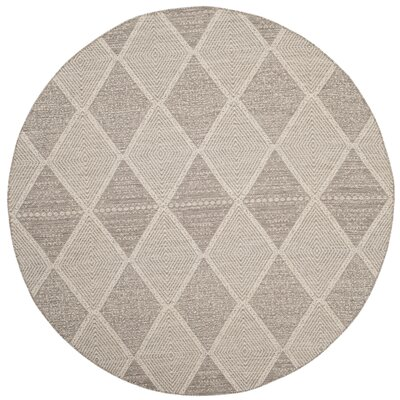 Oxbow Hand-Woven Gray Area Rug Rug Size: Round 6