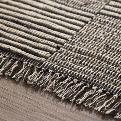 Synthia Hand-Loomed Black Area Rug Rug Size: 4 x 6