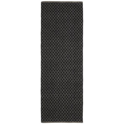 Synthia Hand-Woven Black Area Rug Rug Size: Runner 26 x 12