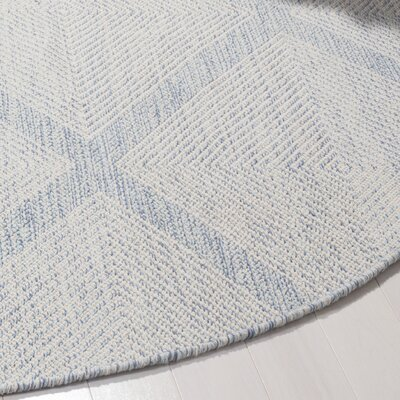 Oxbow Hand-Woven Light Blue Area Rug Rug Size: Round 6