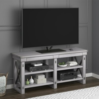 Glane Wildwood Wood Veneer 65 TV Stand Color: Rustic White