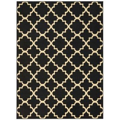 Longmont Trellis Black Indoor Area Rug Rug Size: Rectangle 53 x 73