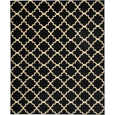 Longmont Trellis Black Indoor Area Rug Rug Size: Rectangle 710 x 910