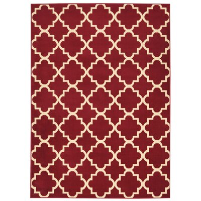 Longmont Trellis Red Indoor Area Rug Rug Size: Rectangle 53 x 73