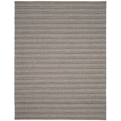 Oxbow Hand-Woven Cotton Ivory/Black Area Rug Rug Size: Rectangle 10 x 14